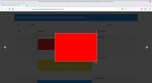 Cara Membuat Lightbox Popup Gallery dengan Magnific Popup & Datatables plugin