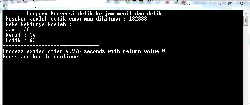 Source Code Konversi Waktu dari Detik ke Jam Menit Detik  dengan Dev C++